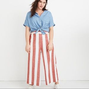 Madewell Huston Pull-On Crop Pants in Bold Stripe
